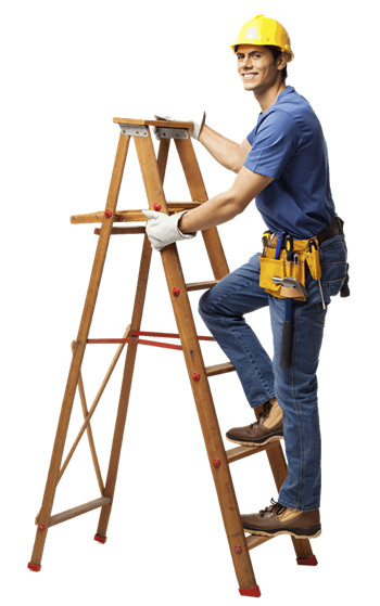 man wearing a hard hat on a step ladder